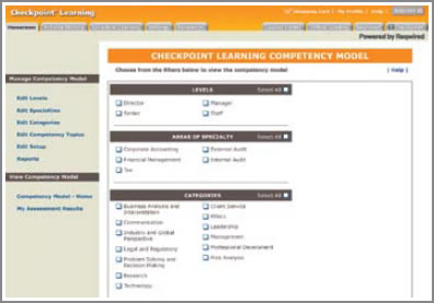 Screenshot: Checkpoint Learning Competency Model