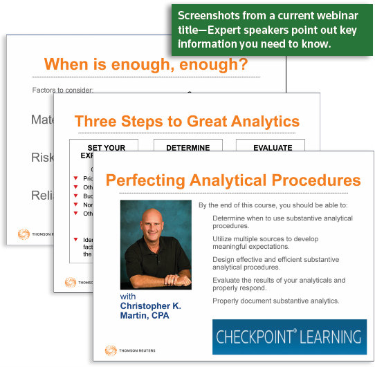 Screenshots from a current webinar title -- Expert speakers point out key information you need to know.